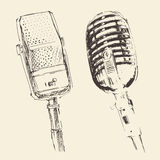 Set of studio Microphones Vintage Engraved Retro Royalty Free Stock Photo