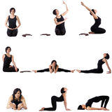Set of studio photos with cute yoga model Royalty Free Stock Photos
