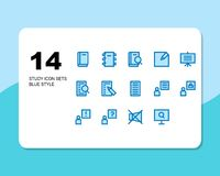 Set of study. education at home blue filled royalty free illustration
