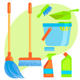Set of stuff for cleaning. Stock Image