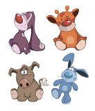 Set of stuffed toys cartoon. Set of soft lovely various toys Stock Photography