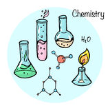 Set of stydying elements. Chemistry topic. Stock Images