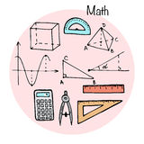 Set of stydying elements. Math topic. Vector illustration in sketch style Stock Image