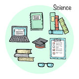 Set of stydying elements. Science topic. Stock Photo