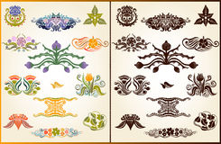 Set style plant flower pattern silhouette element Royalty Free Stock Photos