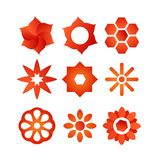 Set of Style Vector Flowers Stock Image