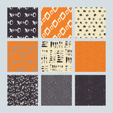 Set of 9 styled, ultimate hand drawn seamless textures. Royalty Free Stock Images