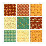 Set of 9 styled, ultimate hand drawn seamless textures. Royalty Free Stock Photos