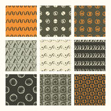 Set of 9 styled, ultimate hand drawn seamless textures. Royalty Free Stock Photography