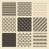 Set of 9 styled, ultimate hand drawn seamless textures. Stock Photos