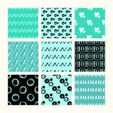 Set of 9 styled, ultimate hand drawn seamless textures. Stock Images