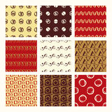 Set of 9 styled, ultimate hand drawn seamless textures. Stock Photography