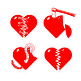 Set of the stylised broken hearts. Royalty Free Stock Image