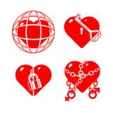 Set of the stylised closed hearts. Royalty Free Stock Photo