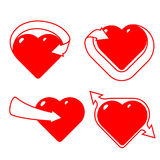 Set of stylised hearts with arrows. Royalty Free Stock Photography