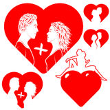 Set the stylised of hearts with lovers. Royalty Free Stock Image