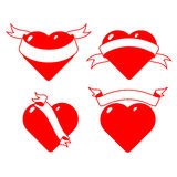Set of stylised hearts with ribbons. Royalty Free Stock Image