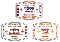 Indian Airport Stamps Stock Photo