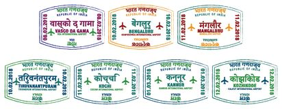 Indian Airport Stamps Royalty Free Stock Photos