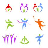 Set of the stylised people. Set of the stylized figures on a theme sports and a family Stock Photo