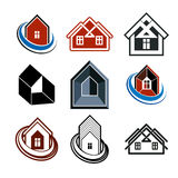 Set of stylish abstract architectural constructions - houses sym Royalty Free Stock Photos