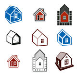Set of stylish abstract architectural constructions, houses vect Royalty Free Stock Image