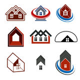 Set of stylish abstract architectural constructions, vector hous Stock Images