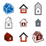 Set of stylish abstract architecture, vector house. Set of stylish abstract architectural constructions, vector houses symbols, for use as branding in insurance Stock Photography