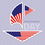 Set of stylish american flags. Independence day design. Vector illustration Royalty Free Stock Images