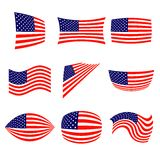 Set of stylish american flags. Royalty Free Stock Image