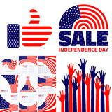 Set of Stylish American Independence day design. Stock Image