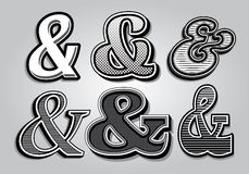 Set of stylish ampersands from different fonts Royalty Free Stock Photography