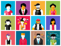 Set of stylish avatars of man and woman icons Royalty Free Stock Photos