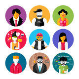 Set of stylish avatars of man and woman icons Royalty Free Stock Photo