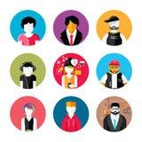 Set of stylish avatars of man and woman icons Stock Photos