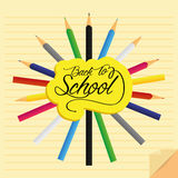 Set Of Stylish Cartoon Different Color Pencils Royalty Free Stock Images