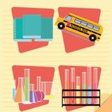 Set Of Stylish Cartoon Different Schoo Elements vector illustration