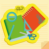 Set Of Stylish Cartoon Different School  Elements. Vector Set Of Stylish Cartoon Different School Related Elements Stock Image