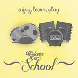 Set Of Stylish Cartoon Different School Elements Royalty Free Stock Image