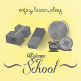 Set Of Stylish Cartoon Different School Elements Royalty Free Stock Images