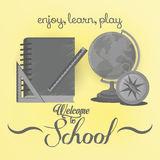 Set Of Stylish Cartoon Different School Elements Royalty Free Stock Photo