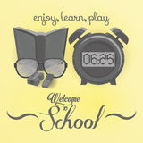 Set Of Stylish Cartoon Different School Elements Royalty Free Stock Photos