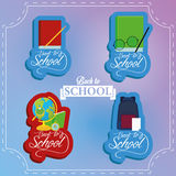 Set Of Stylish Cartoon Different School Elements Stock Photography