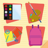 Set Of Stylish Cartoon Different School Elements Stock Image