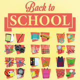 Set Of Stylish Cartoon Different School Elements Stock Photo