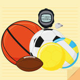 Set Of Stylish Cartoon Different Sports Elements Stock Photo
