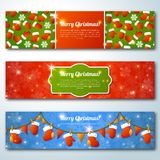 Set of stylish Christmas banners. Vector illustration. Merry Christmas message.Place for your text. New year symbols and objects. Banners for web site Stock Image