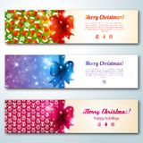 Set of stylish Christmas banners. Vector illustration. Merry Christmas message.Place for your text. New year symbols and objects. Banners for web site. Vintage Royalty Free Stock Images