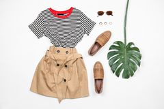 Set of stylish clothes and accessories. On white background, flat lay royalty free stock image