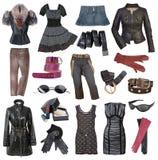 Set of stylish clothes. Set of fashionable stylish clothes royalty free stock images